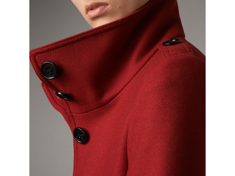 Technical Wool Cashmere Funnel Neck Coat in Damson Red - Women | Burberry - cell image 1