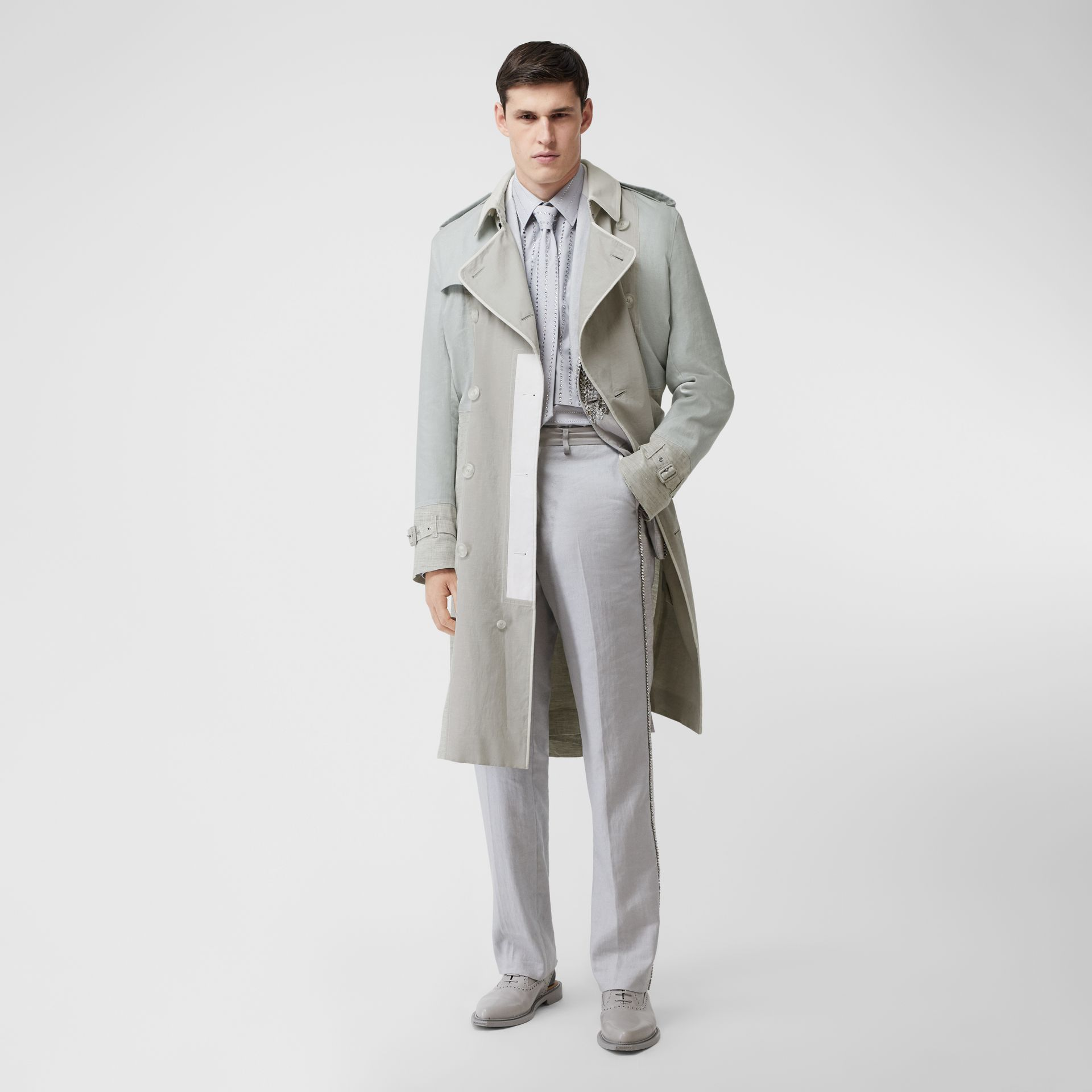 Panelled Linen Trench Coat in Light Pebble Grey - Men | Burberry - gallery image 0