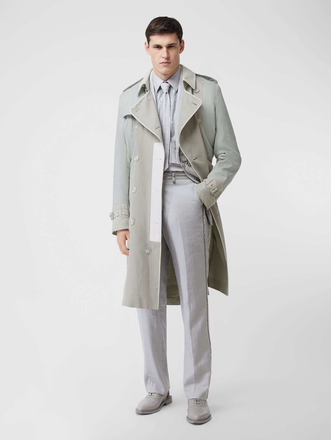 Panelled Linen Trench Coat (Light Pebble Grey)