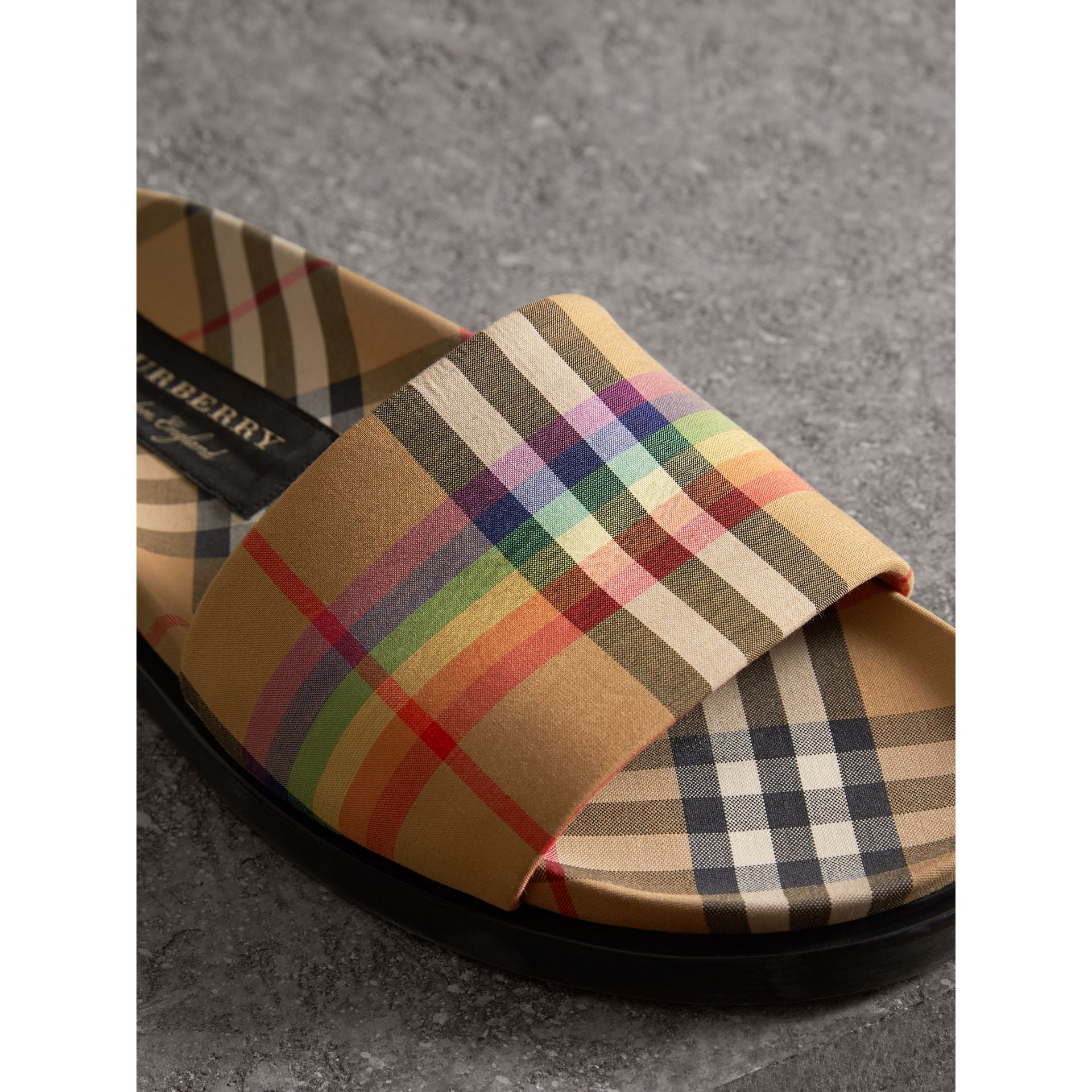 Rainbow Vintage Check Slides in Antique Yellow - Women | Burberry Australia - gallery image 1