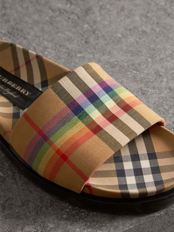 Rainbow Vintage Check Slides in Antique Yellow - Women | Burberry Australia - cell image 1