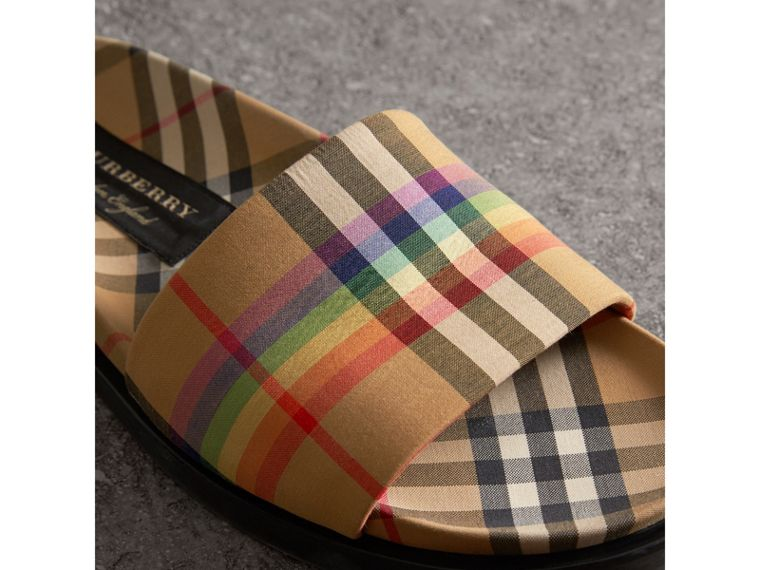 Rainbow Vintage Check Slides in Antique Yellow - Women | Burberry United States - cell image 1