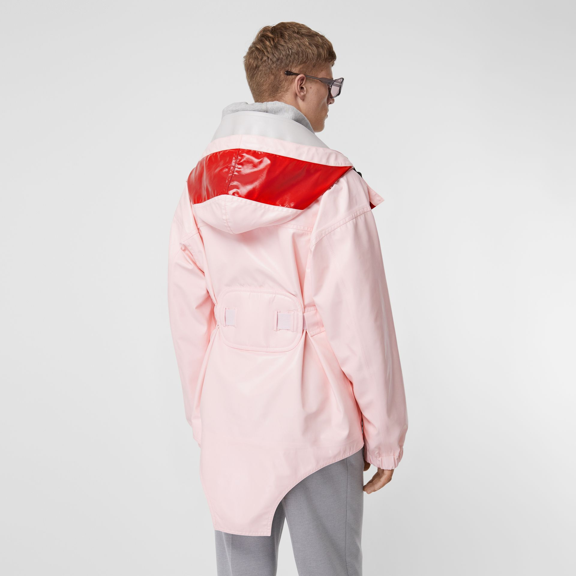 Cut-out Hem Two-tone Coated Nylon Parka in Pale Pink - Men | Burberry Australia - gallery image 2