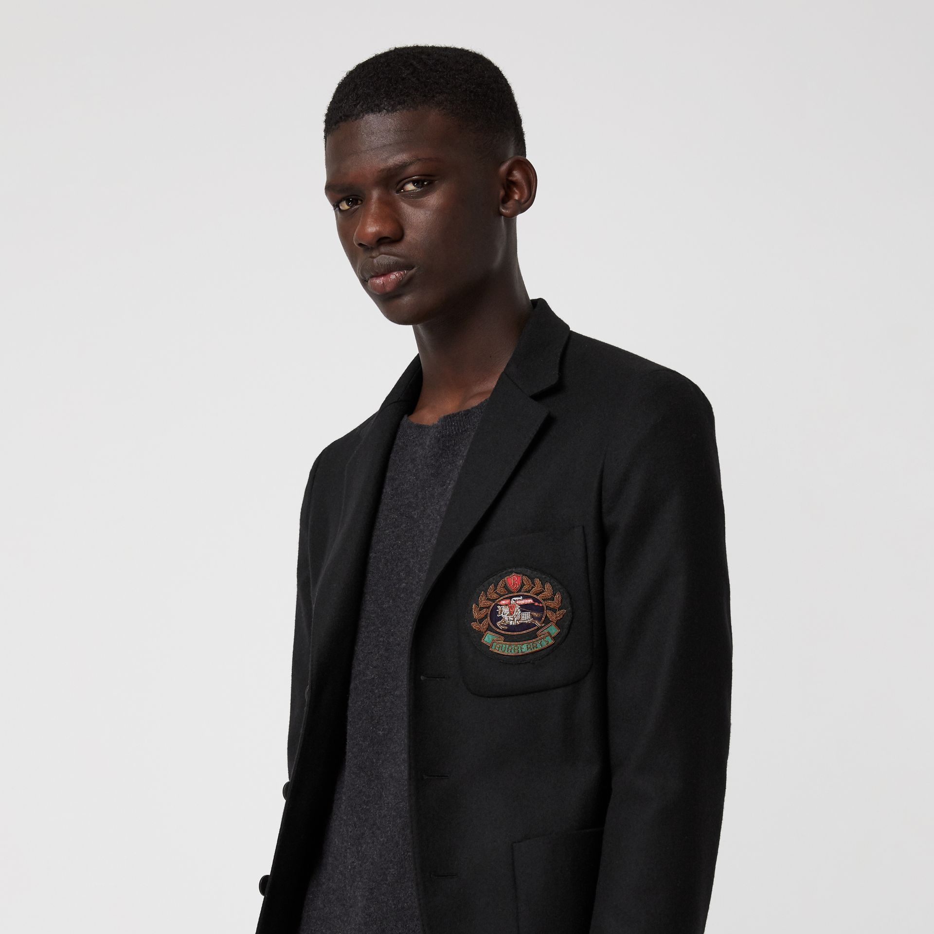 Slim Fit Embroidered Crest Wool Club Blazer in Black - Men | Burberry Australia - gallery image 1