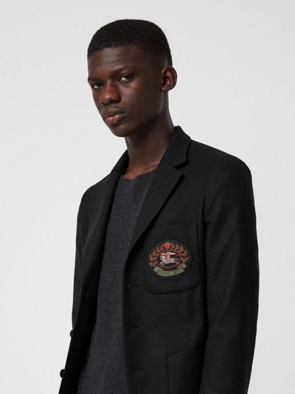 Slim Fit Embroidered Crest Wool Club Blazer in Black