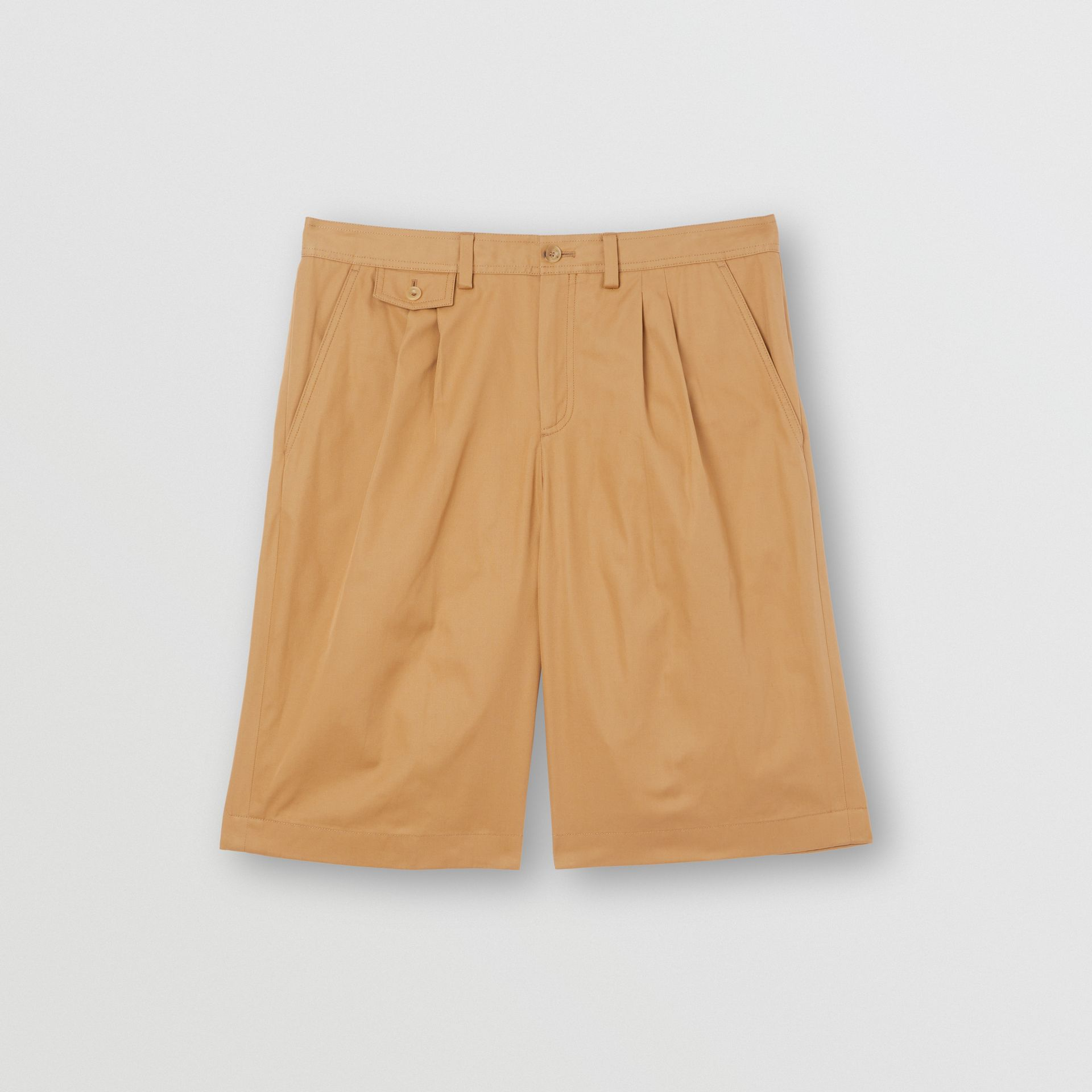 Icon Stripe Detail Cotton Twill Tailored Shorts in Camel - Men | Burberry United States - gallery image 3