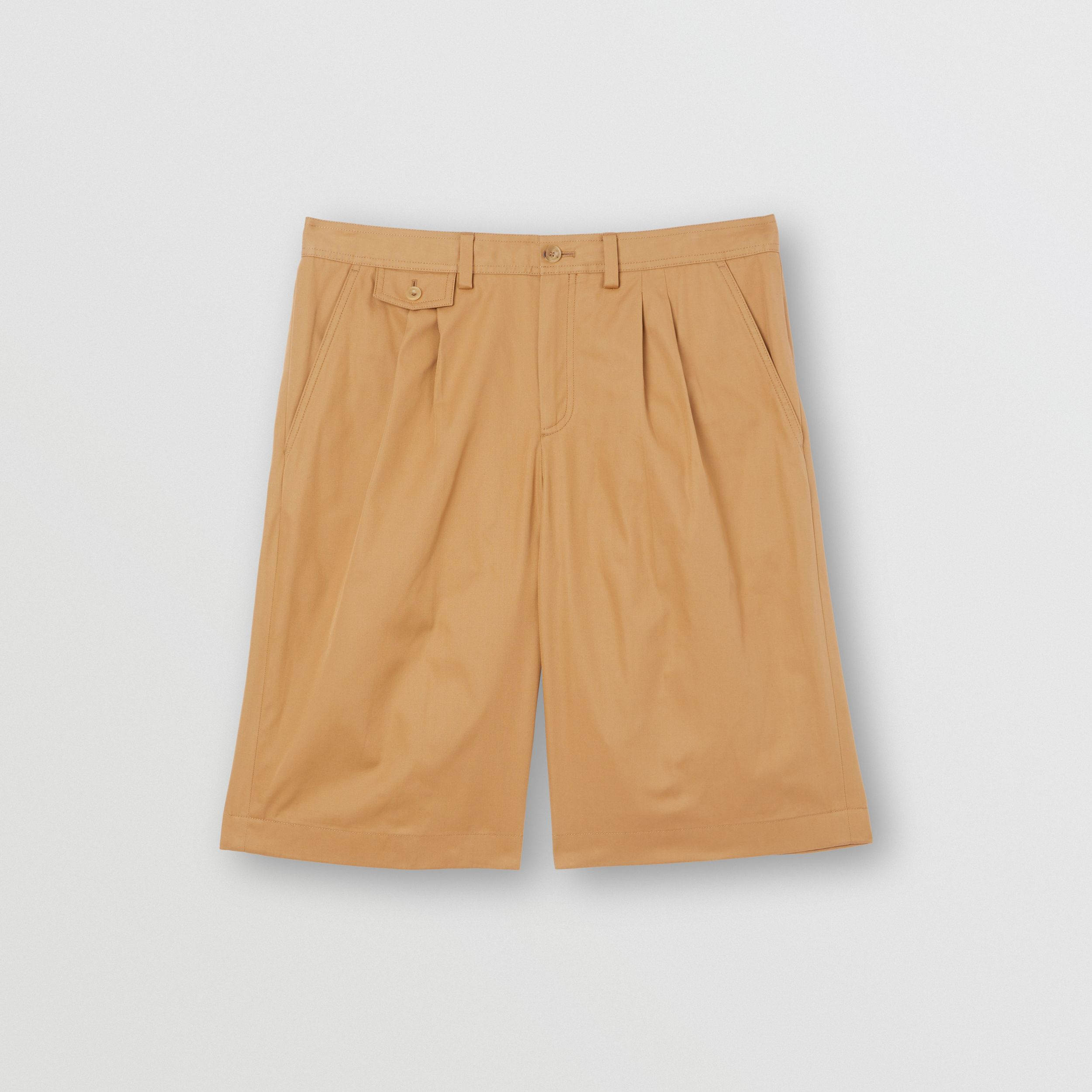 Icon Stripe Detail Cotton Twill Tailored Shorts in Camel - Men | Burberry - 4