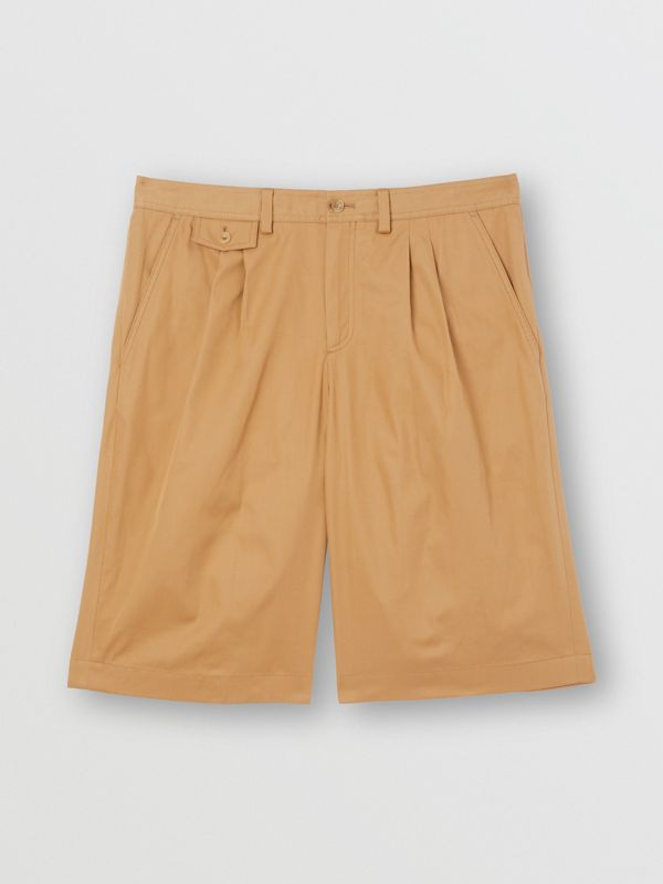 Icon Stripe Detail Cotton Twill Tailored Shorts in Camel - Men | Burberry United States - cell image 3