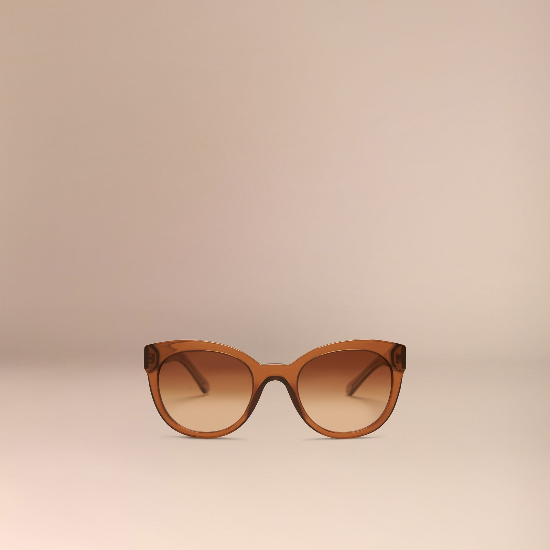 Taupe brown Check Detail Oval Sunglasses Taupe Brown - gallery image 3