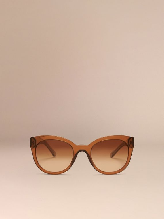 Taupe brown Check Detail Oval Sunglasses Taupe Brown - cell image 2