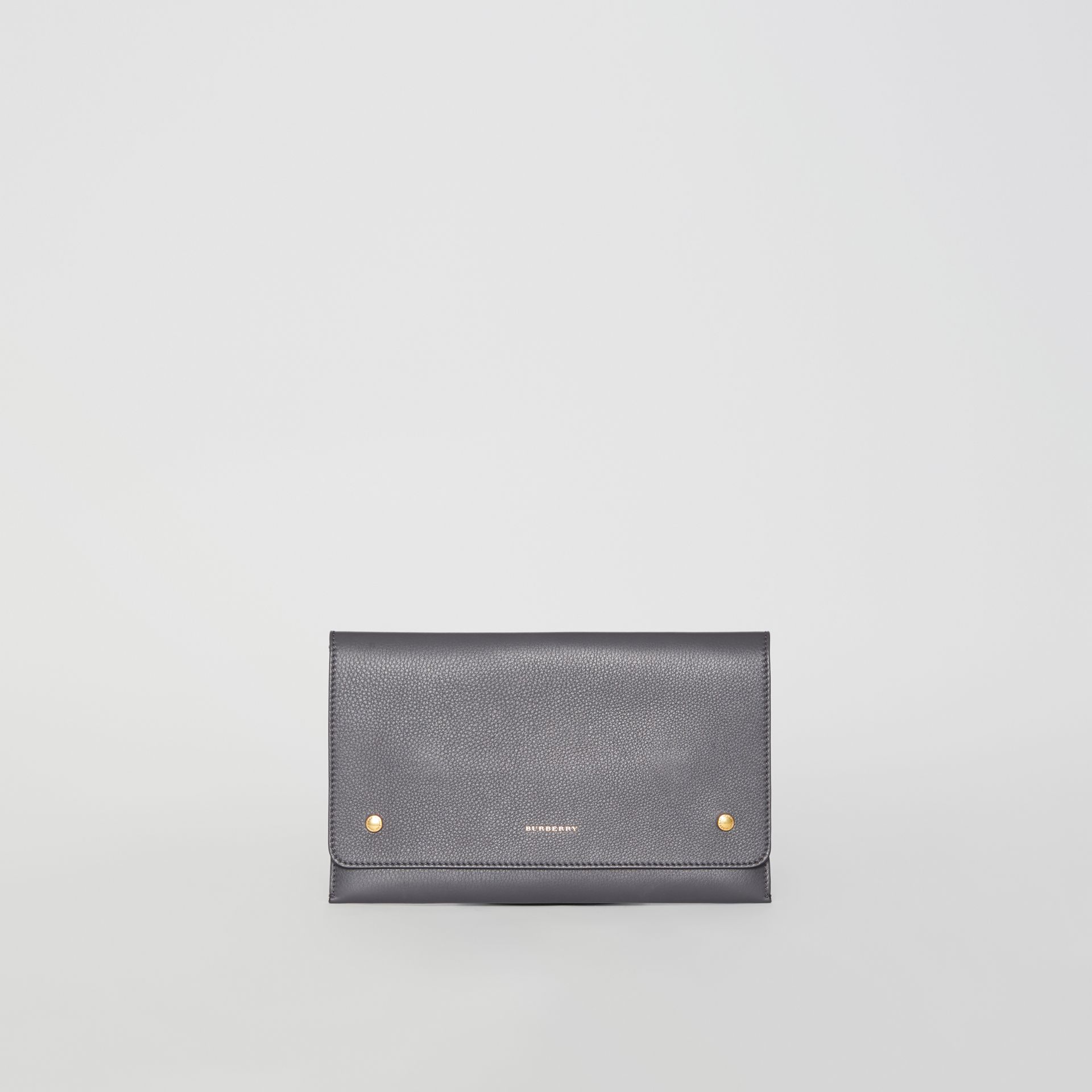 Clutch wristlet en cuir bicolore (Gris Anthracite) - Femme | Burberry - photo de la galerie 0