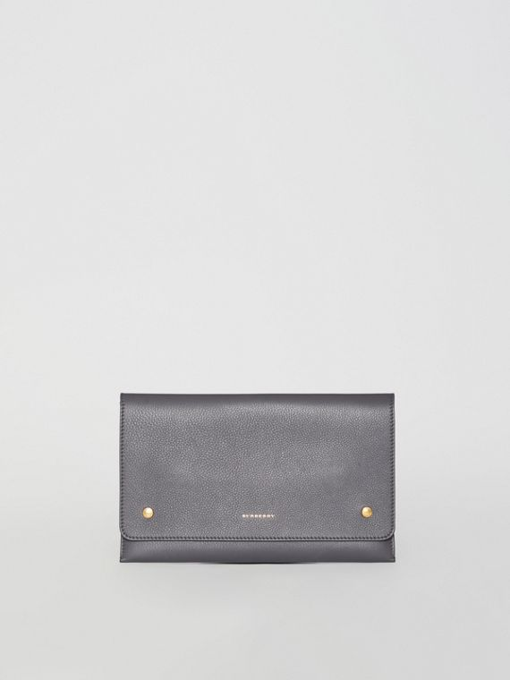 Two-tone Leather Wristlet Clutch in Charcoal Grey