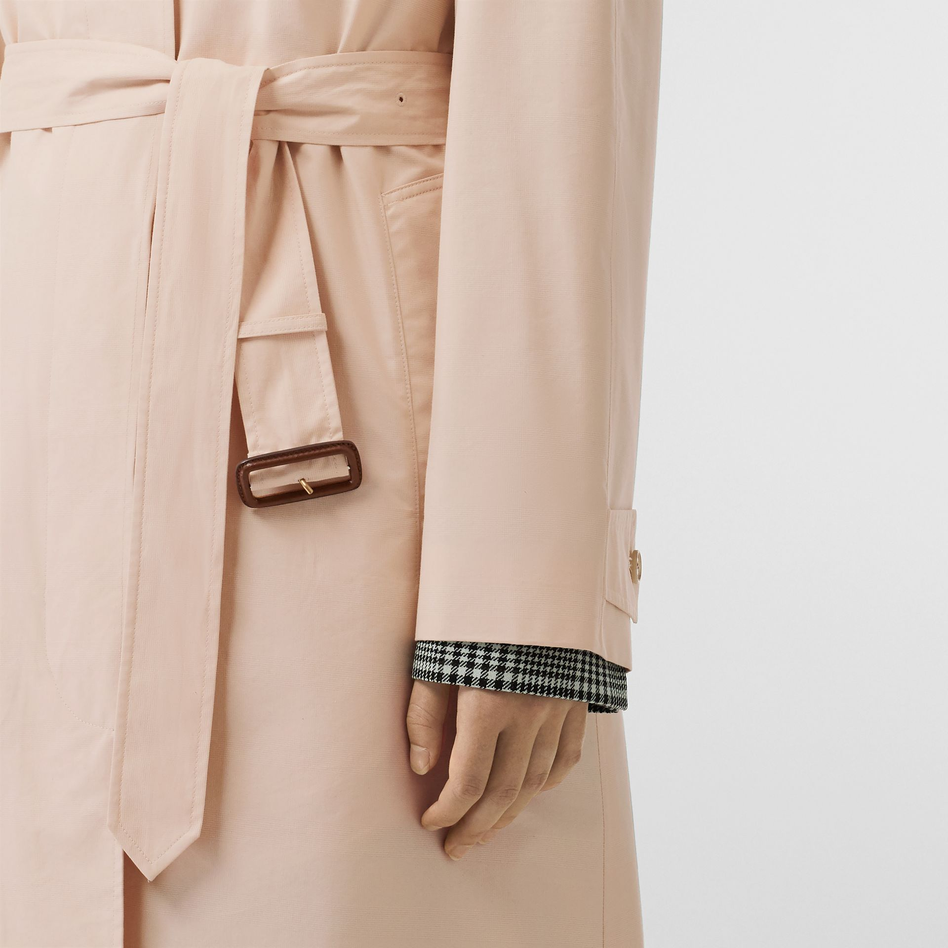 Belted Cotton Silk Car Coat in Chalk Pink - Women | Burberry - gallery image 4