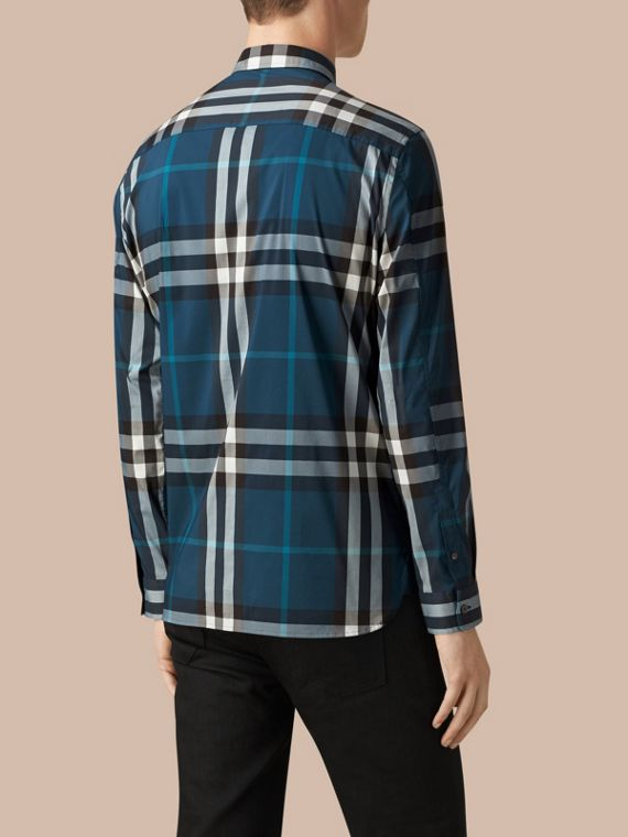 Marine blue Check Stretch Cotton Shirt Marine Blue - cell image 2