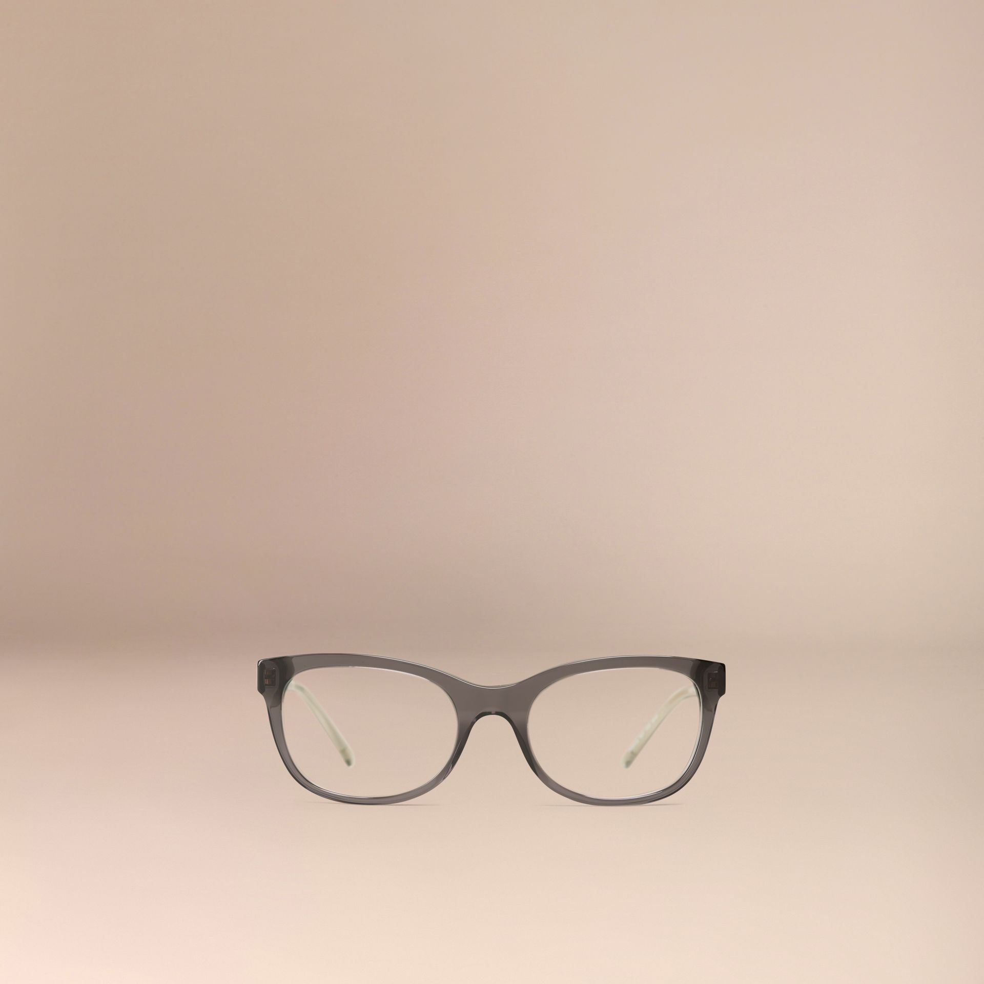 Check Detail Oval Optical Frames Dark Grey - gallery image 2
