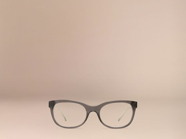 Check Detail Oval Optical Frames Dark Grey - cell image 1