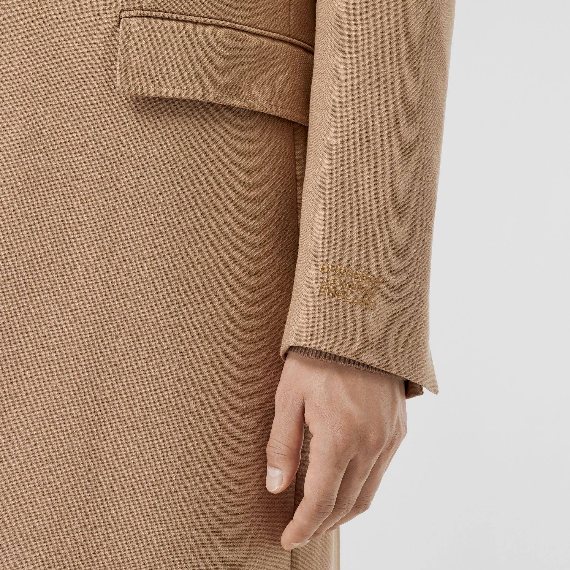 Logo Embroidered Wool Coat in Camel - Men | Burberry Singapore - gallery image 3