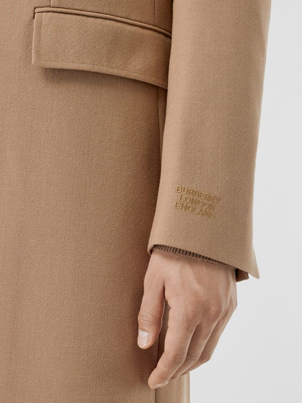 Logo Embroidered Wool Coat in Camel - Men | Burberry Singapore - cell image 3