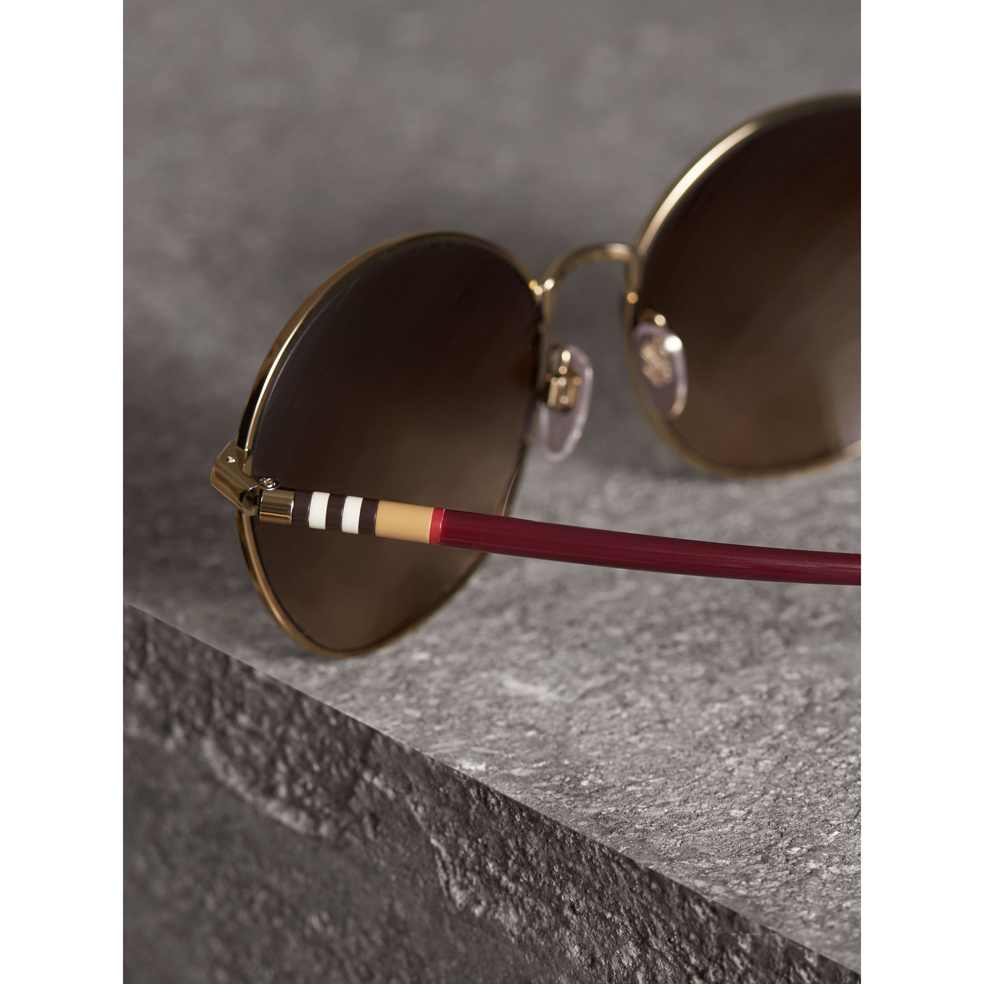 Check Detail Round Frame Sunglasses in Burgundy - Women | Burberry Canada - gallery image 1