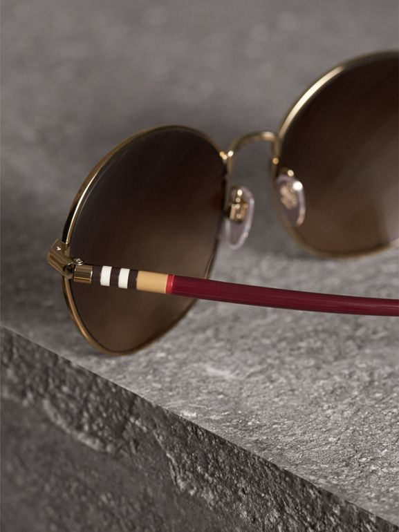 Check Detail Round Frame Sunglasses in Burgundy - Women | Burberry Canada - cell image 1