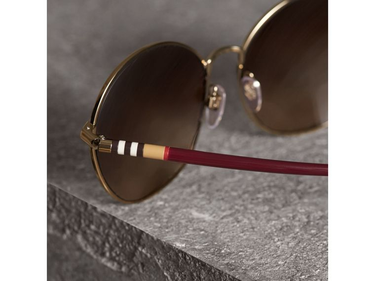 Check Detail Round Frame Sunglasses in Burgundy - Women | Burberry - cell image 1