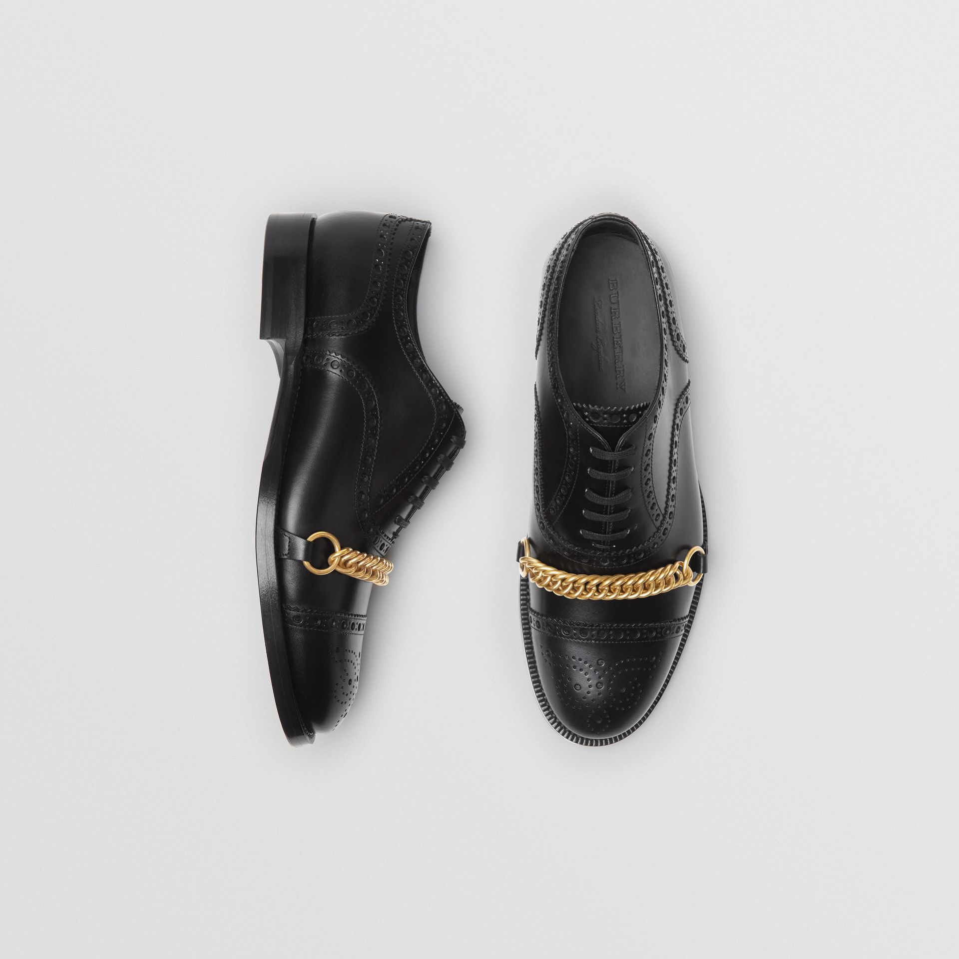 Link Detail Leather Brogues in Black - Men | Burberry Singapore - gallery image 0