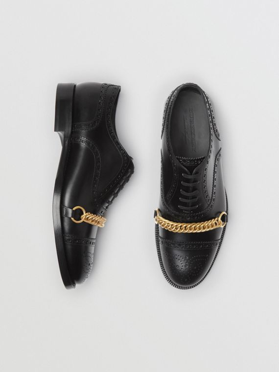 Link Detail Leather Brogues in Black