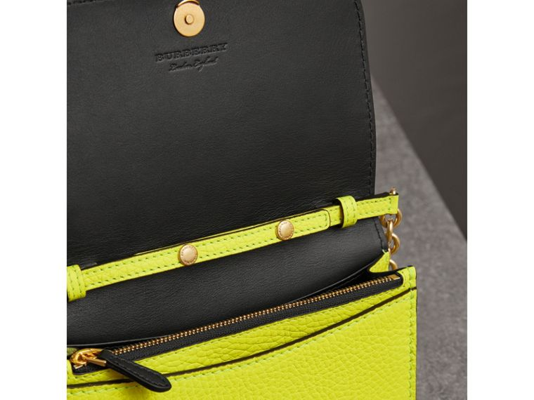Embossed Leather Wallet with Detachable Strap in Bright Yellow - Women | Burberry - cell image 4