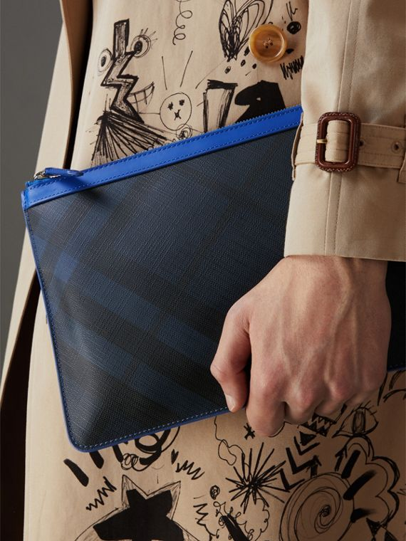 Zip-top London Check Pouch in Navy/blue - Men | Burberry Singapore - cell image 3