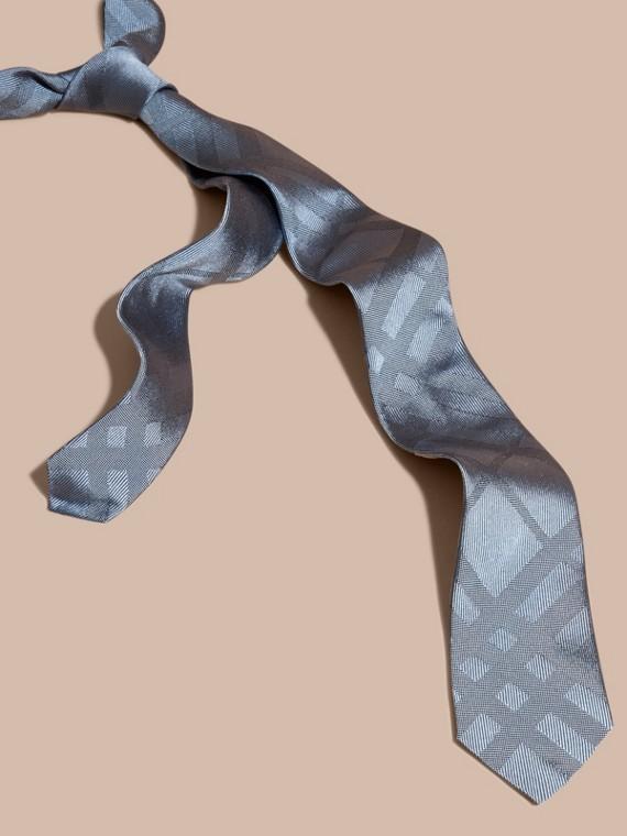 窄版格紋絲質領帶 淺藍色
