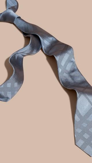 Cravate étroite en soie à motif check
