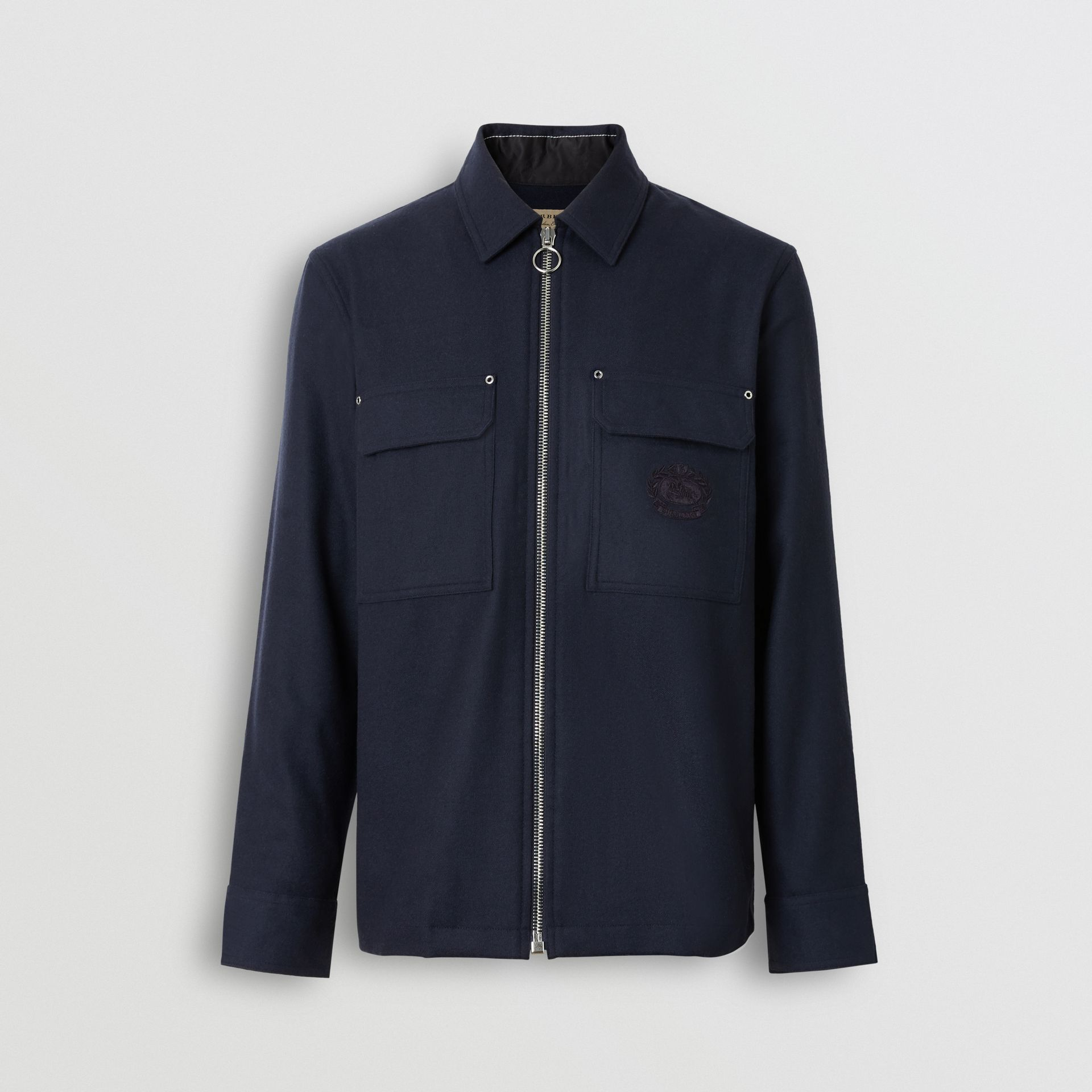 Embroidered Crest Wool Overshirt in Navy - Men | Burberry - gallery image 3