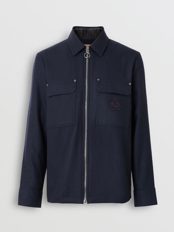 Embroidered Crest Wool Overshirt in Navy - Men | Burberry - cell image 3