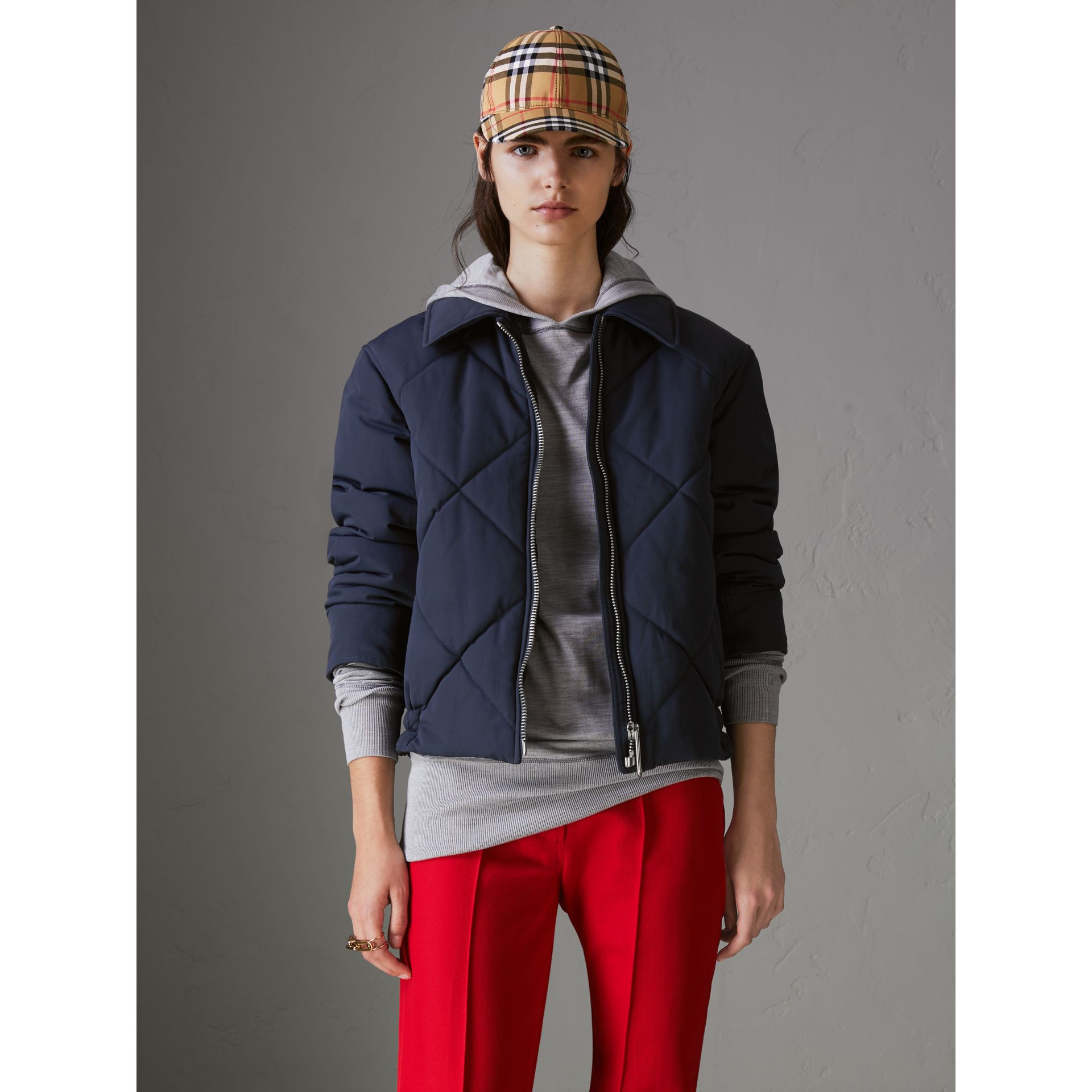 Quilted Technical Cotton-blend Jacket in Navy - Women | Burberry Singapore - gallery image 4