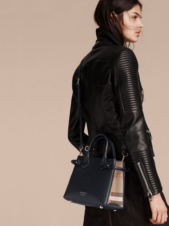 The Small Banner in Leather and House Check in Ink Blue - Women | Burberry Australia - cell image 2