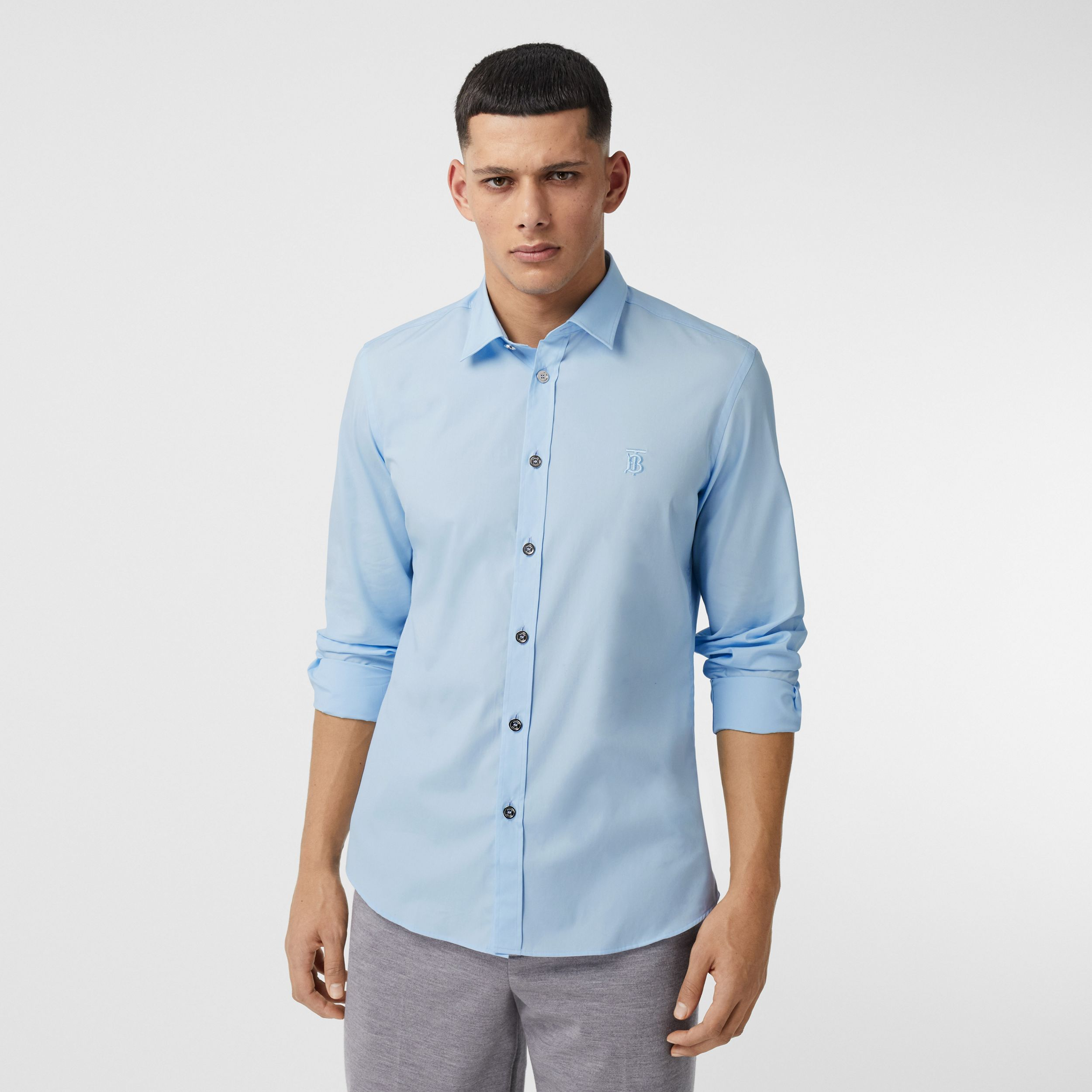 Monogram Motif Stretch Cotton Poplin Shirt in Pale Blue - Men | Burberry - 1