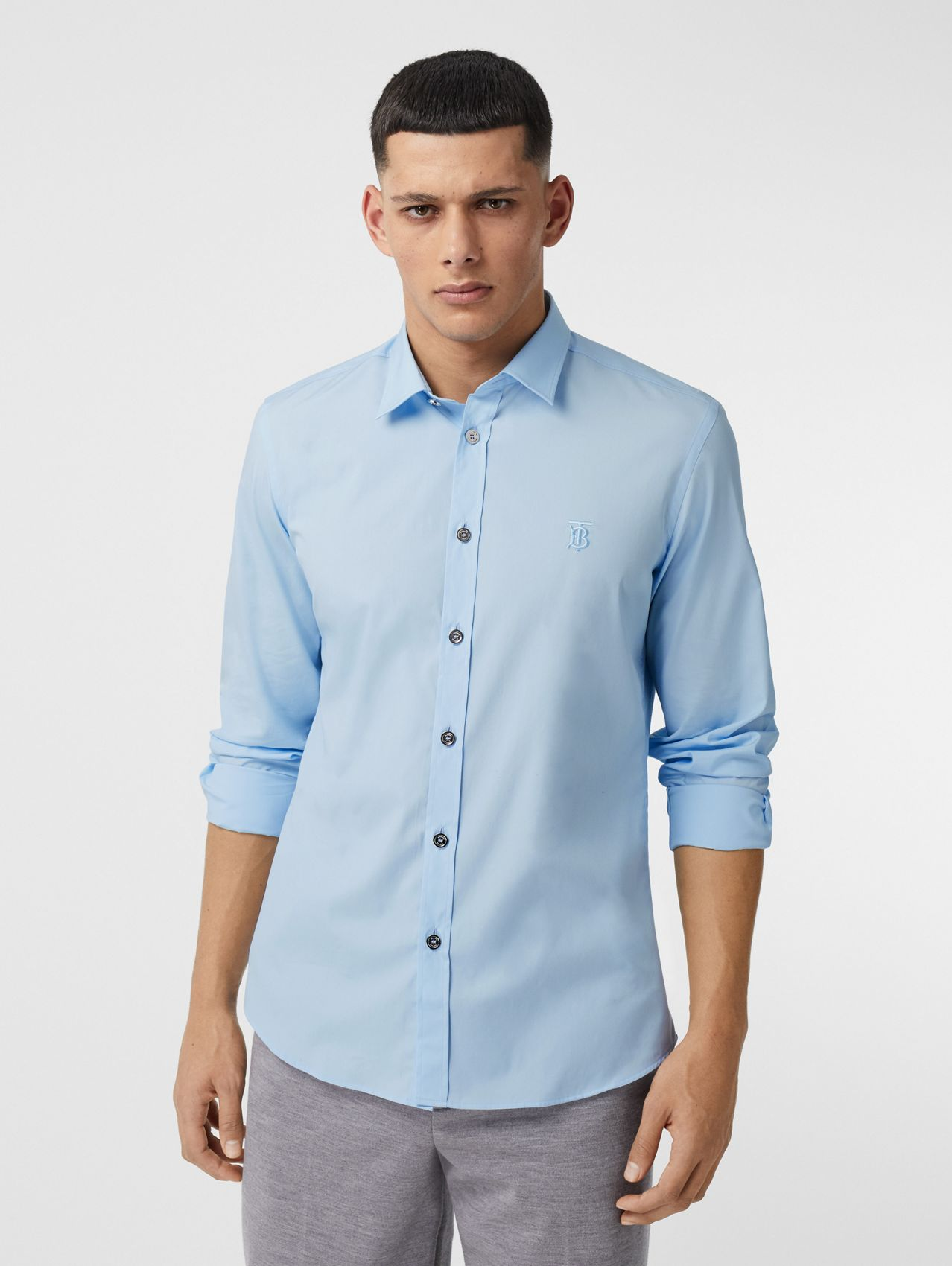 Monogram Motif Stretch Cotton Poplin Shirt in Pale Blue