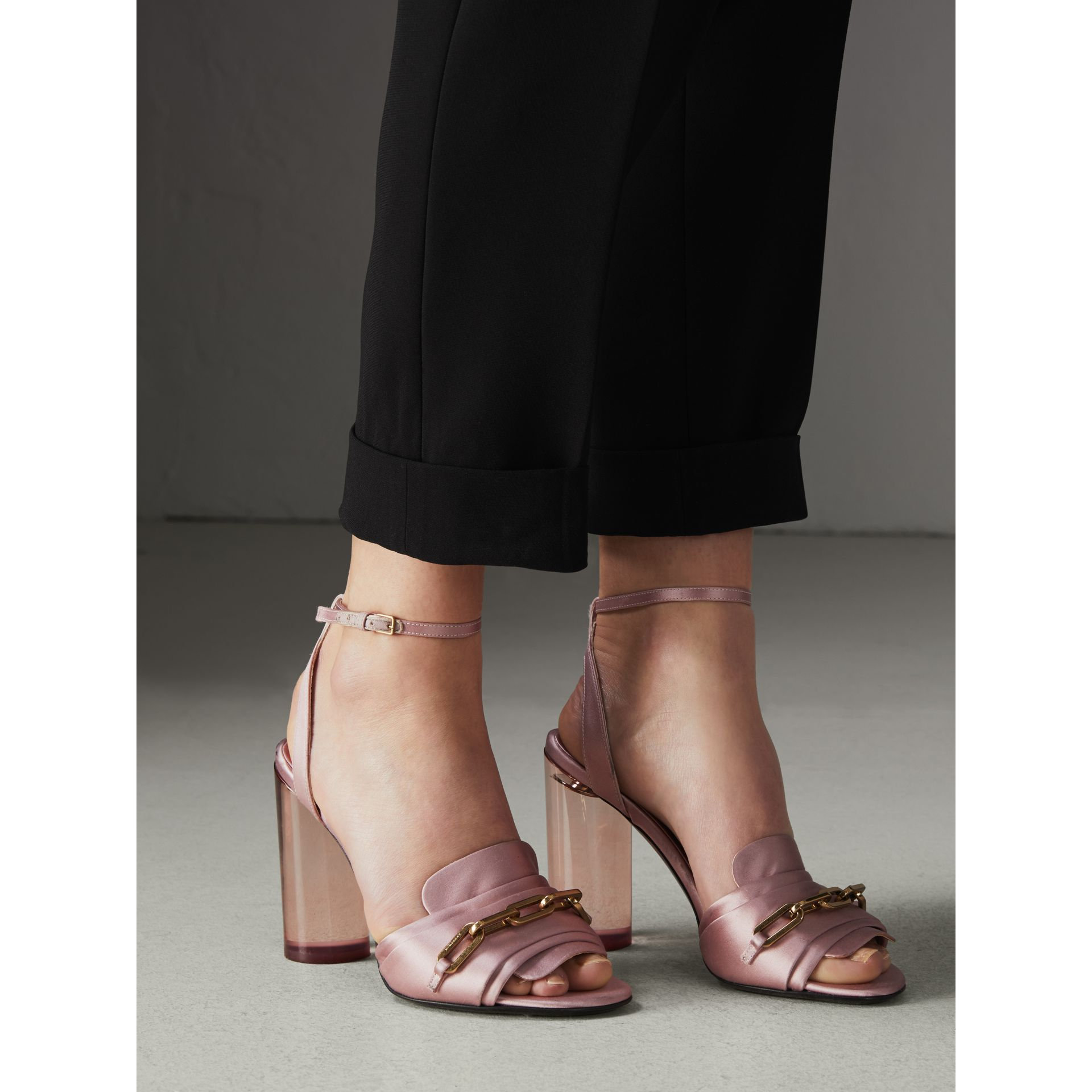 Link Detail Perspex Heel Satin Sandals in Light Pink Melange - Women | Burberry - gallery image 2
