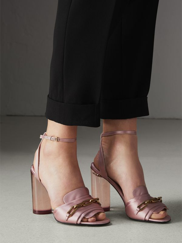 Link Detail Perspex Heel Satin Sandals in Light Pink Melange - Women | Burberry Hong Kong - cell image 2