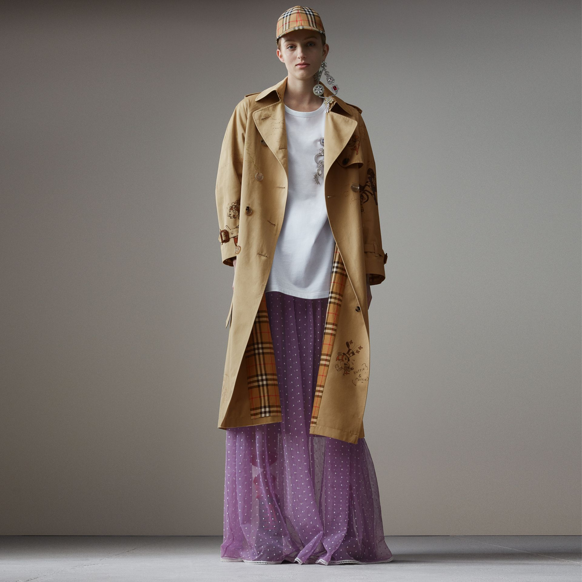 Sketch Print Tropical Gabardine Trench Coat in Honey - Women | Burberry - gallery image 0