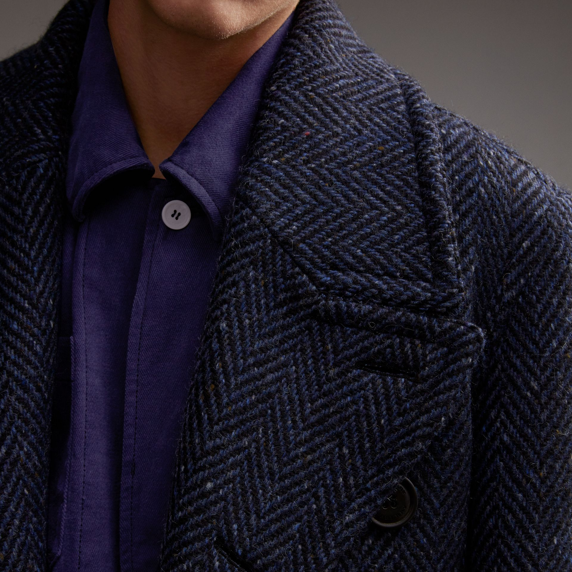 Donegal Herringbone Wool Tweed Topcoat - gallery image 5