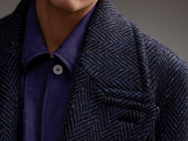 Donegal Herringbone Wool Tweed Topcoat - cell image 4