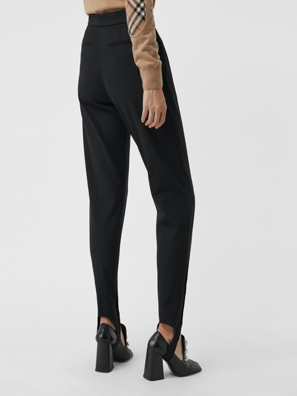 Long Cotton Blend Tailored Jodhpurs in Black - Women | Burberry - cell image 2