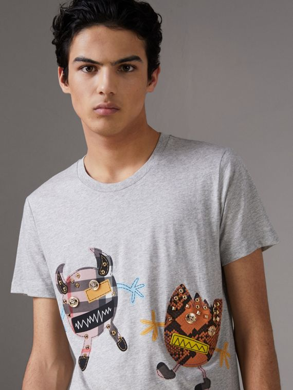 Creature Motif Cotton T-shirt in Pale Grey Melange