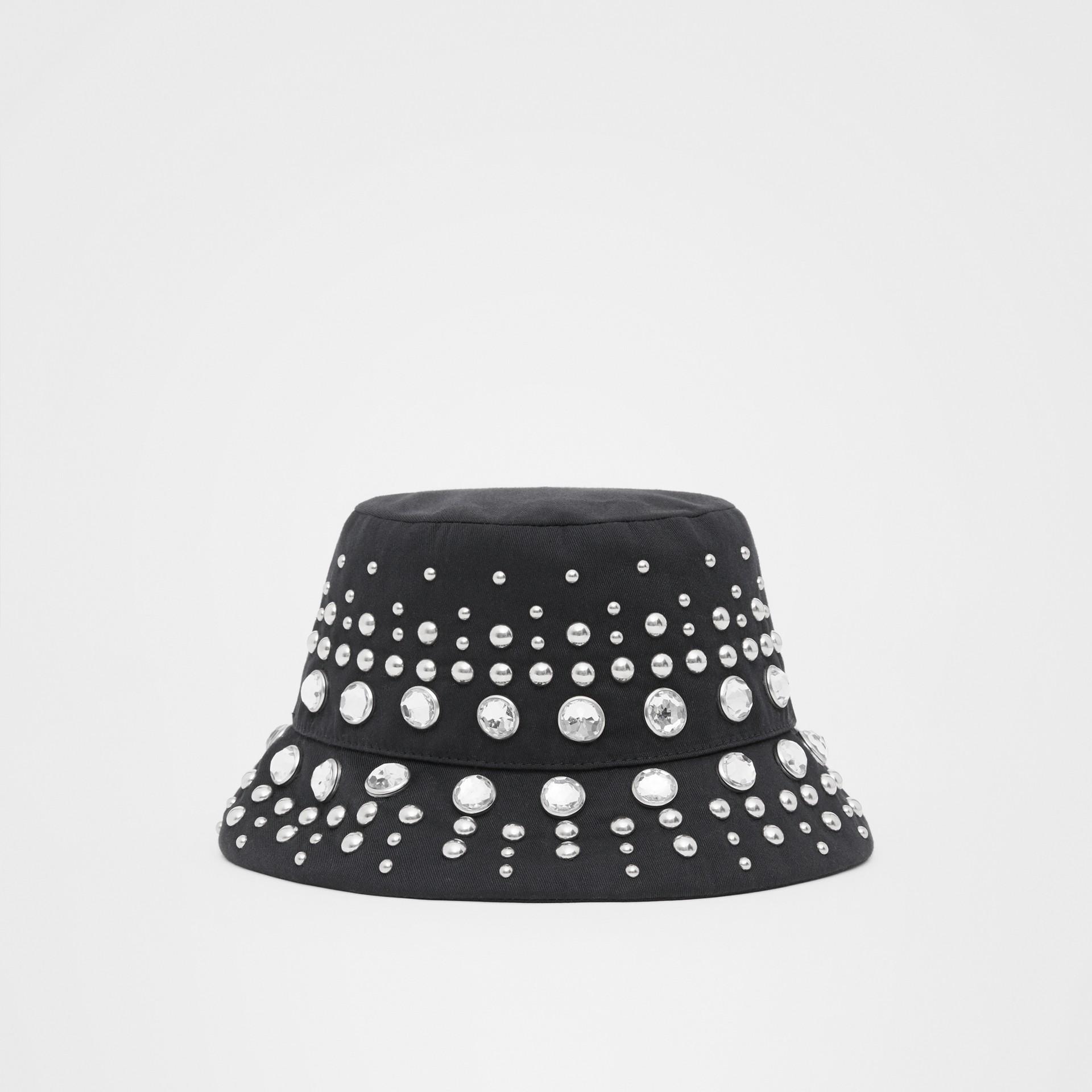 裝飾細節棉質斜紋漁夫帽 (黑色) | Burberry - 圖庫照片 4