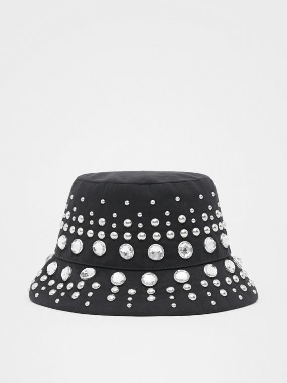 Embellished Cotton Twill Bucket Hat in Black