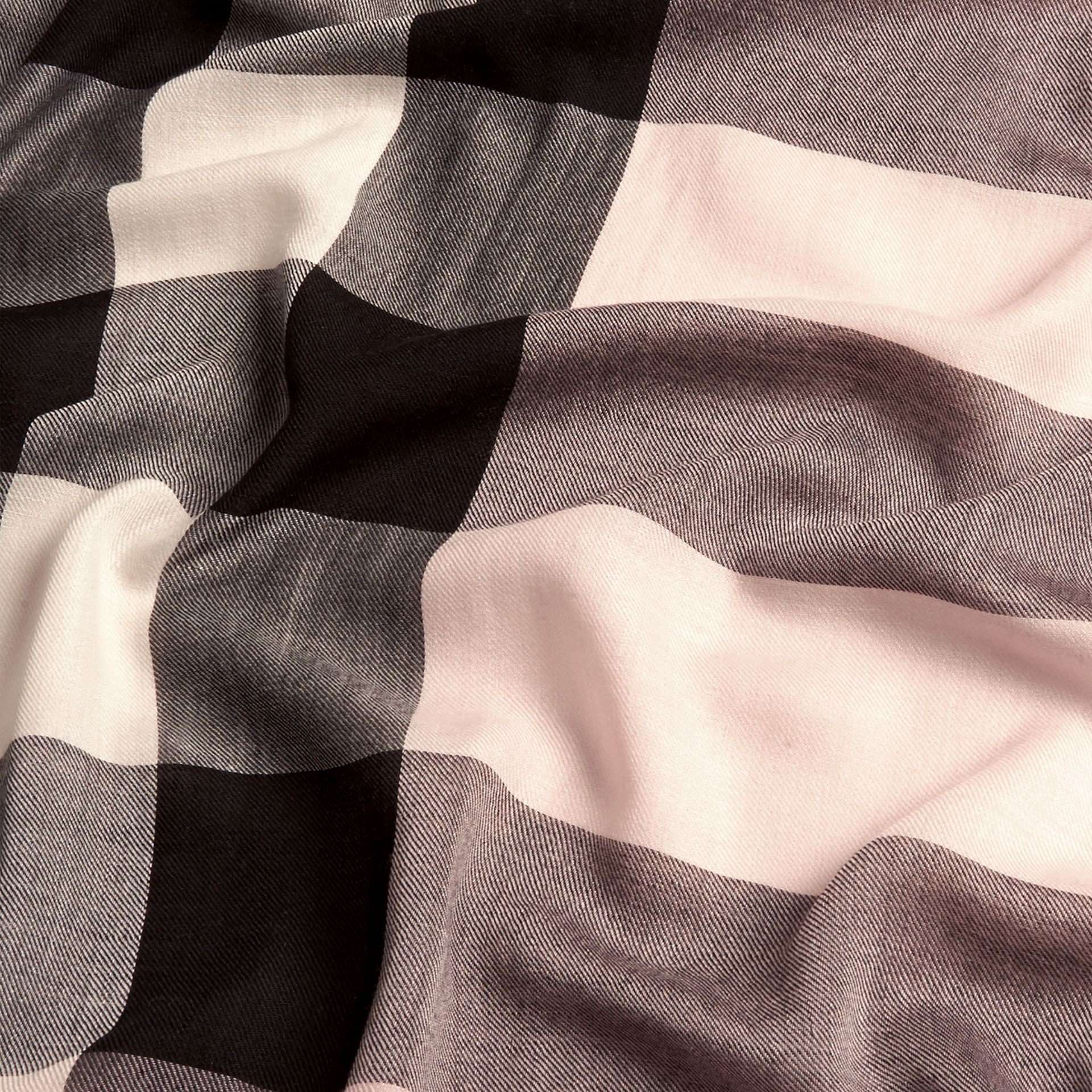 The Lightweight Cashmere Scarf in Check Rose - gallery image 5