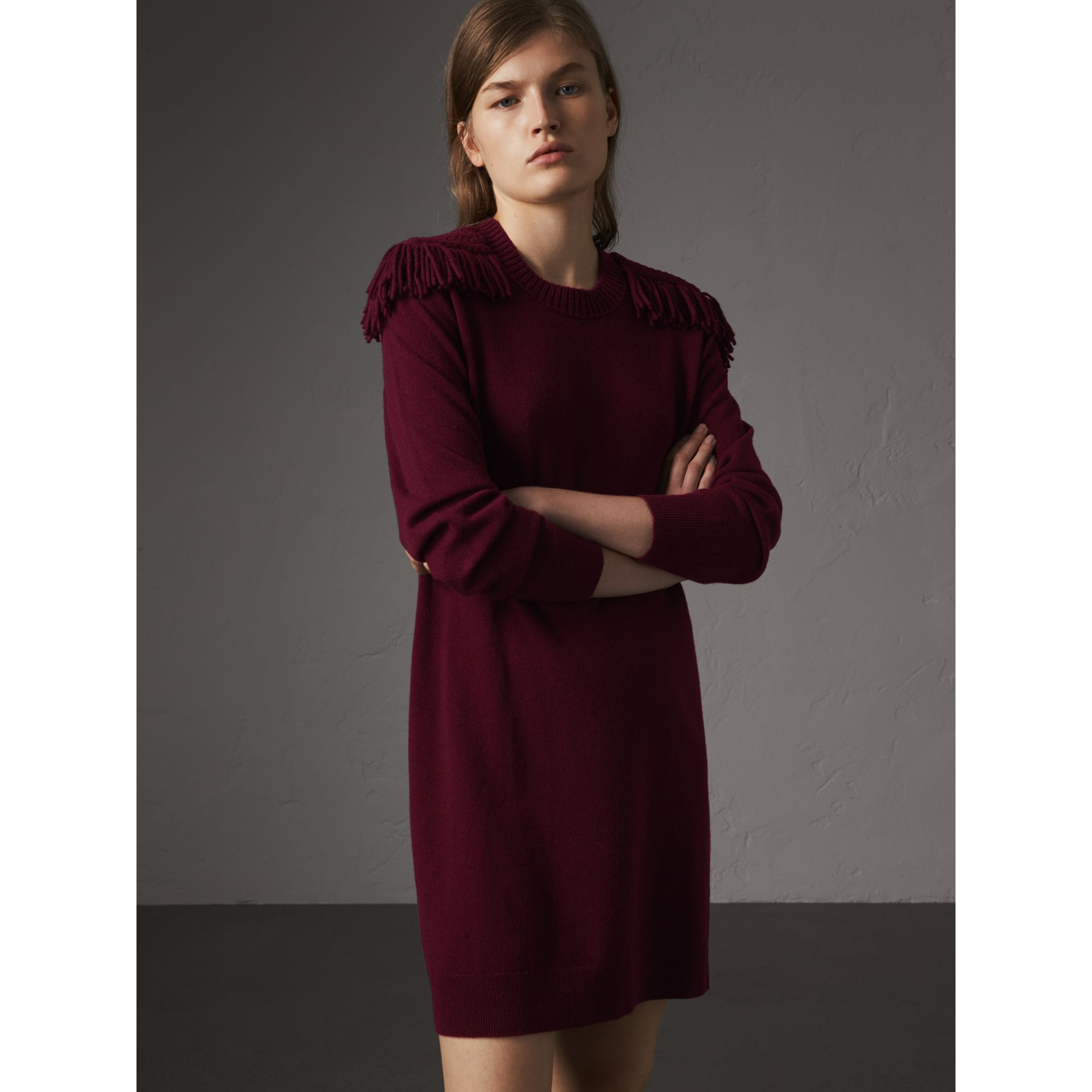 Epaulette Detail Wool Cashmere Dress in Burgundy - Women | Burberry - gallery image 1