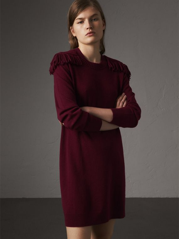 Epaulette Detail Wool Cashmere Dress in Burgundy