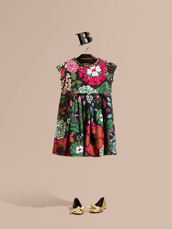Floral Print Cotton Silk Dress